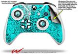 Folder Doodles Neon Teal - Decal Style Skin fits Microsoft XBOX One X and One S Wireless Controller
