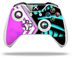 Black Waves Neon Teal Hot Pink - Decal Style Skin fits Microsoft XBOX One X and One S Wireless Controller