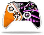 Black Waves Orange Hot Pink - Decal Style Skin fits Microsoft XBOX One X and One S Wireless Controller