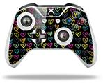 Kearas Hearts Black - Decal Style Skin fits Microsoft XBOX One X and One S Wireless Controller