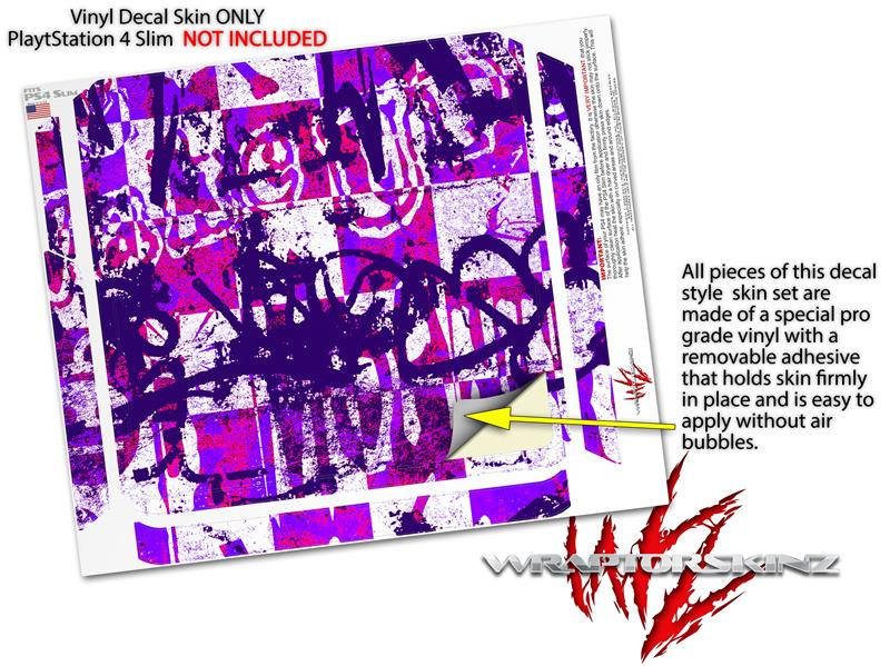 _Sony_PS4_Slim_Console_Skins Purple Checker Graffiti | uSkins