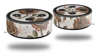 Skin Wrap Decal Set 2 Pack for Amazon Echo Dot 2 - Flowers Pattern Roses 20 (2nd Generation ONLY - Echo NOT INCLUDED)