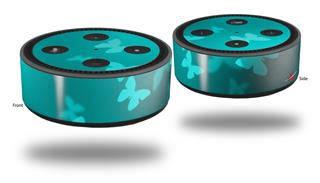 Skin Wrap Decal Set 2 Pack for Amazon Echo Dot 2 - Bokeh Butterflies Neon Teal (2nd Generation ONLY - Echo NOT INCLUDED)
