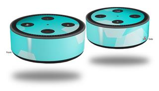 Skin Wrap Decal Set 2 Pack for Amazon Echo Dot 2 - Bokeh Hex Neon Teal (2nd Generation ONLY - Echo NOT INCLUDED)