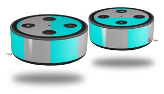 Skin Wrap Decal Set 2 Pack for Amazon Echo Dot 2 - Psycho Stripes Neon Teal and Gray (2nd Generation ONLY - Echo NOT INCLUDED)