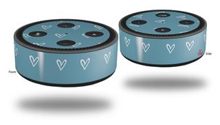 Skin Wrap Decal Set 2 Pack for Amazon Echo Dot 2 - Hearts Blue On White (2nd Generation ONLY - Echo NOT INCLUDED)