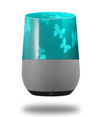 Decal Style Skin Wrap for Google Home Original - Bokeh Butterflies Neon Teal (GOOGLE HOME NOT INCLUDED)