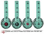 Skin Decal Wrap for Beats Solo 2 and Solo 3 Wireless Headphones Nautical Anchors Away 02 Seafoam Green (BEATS NOT INCLUDED) by WraptorSkinz