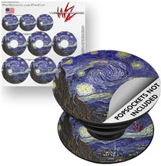 Decal Style Vinyl Skin Wrap 3 Pack for PopSockets Vincent Van Gogh Starry Night (POPSOCKET NOT INCLUDED)