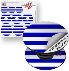 Decal Style Vinyl Skin Wrap 3 Pack for PopSockets Psycho Stripes Blue and White (POPSOCKET NOT INCLUDED) by WraptorSkinz