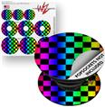 Decal Style Vinyl Skin Wrap 3 Pack for PopSockets Rainbow Checkerboard (POPSOCKET NOT INCLUDED)