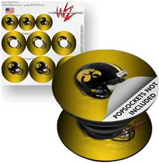 Decal Style Vinyl Skin Wrap 3 Pack for PopSockets Iowa Hawkeyes Helmet (POPSOCKET NOT INCLUDED) by WraptorSkinz