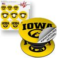 Decal Style Vinyl Skin Wrap 3 Pack for PopSockets Iowa Hawkeyes Tigerhawk Oval 01 Black on Gold (POPSOCKET NOT INCLUDED) by WraptorSkinz