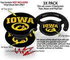 Decal Style Vinyl Skin Wrap 3 Pack for PopSockets Iowa Hawkeyes Tigerhawk Oval 01 Gold on Black (POPSOCKET NOT INCLUDED)