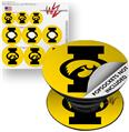 Decal Style Vinyl Skin Wrap 3 Pack for PopSockets Iowa Hawkeyes Tigerhawk Oval 02 Black on Gold (POPSOCKET NOT INCLUDED)