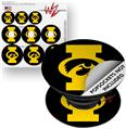Decal Style Vinyl Skin Wrap 3 Pack for PopSockets Iowa Hawkeyes Tigerhawk Oval 02 Gold on Black (POPSOCKET NOT INCLUDED)