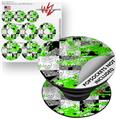 Decal Style Vinyl Skin Wrap 3 Pack for PopSockets Checker Skull Splatter Green (POPSOCKET NOT INCLUDED)