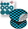 Decal Style Vinyl Skin Wrap 3 Pack for PopSockets Checkers Blue (POPSOCKET NOT INCLUDED)