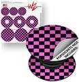 Decal Style Vinyl Skin Wrap 3 Pack for PopSockets Checkers Pink (POPSOCKET NOT INCLUDED)