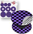 Decal Style Vinyl Skin Wrap 3 Pack for PopSockets Checkers Purple (POPSOCKET NOT INCLUDED)