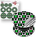Decal Style Vinyl Skin Wrap 3 Pack for PopSockets Hearts And Stars Green (POPSOCKET NOT INCLUDED)