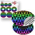 Decal Style Vinyl Skin Wrap 3 Pack for PopSockets Hearts And Stars Rainbow (POPSOCKET NOT INCLUDED) by WraptorSkinz