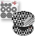 Decal Style Vinyl Skin Wrap 3 Pack for PopSockets Hearts And Stars Black and White (POPSOCKET NOT INCLUDED)
