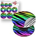 Decal Style Vinyl Skin Wrap 3 Pack for PopSockets Tiger Rainbow (POPSOCKET NOT INCLUDED) by WraptorSkinz
