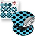 Decal Style Vinyl Skin Wrap 3 Pack for PopSockets Kearas Polka Dots Black And Blue (POPSOCKET NOT INCLUDED) by WraptorSkinz