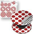 Decal Style Vinyl Skin Wrap 3 Pack for PopSockets Kearas Polka Dots Brick (POPSOCKET NOT INCLUDED)
