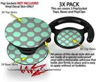 Decal Style Vinyl Skin Wrap 3 Pack for PopSockets Kearas Polka Dots Mint And Gray (POPSOCKET NOT INCLUDED) by WraptorSkinz