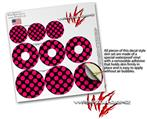 Decal Style Vinyl Skin Wrap 3 Pack for PopSockets Kearas Polka Dots Pink On Black (POPSOCKET NOT INCLUDED) by WraptorSkinz