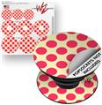 Decal Style Vinyl Skin Wrap 3 Pack for PopSockets Kearas Polka Dots Pink On Cream (POPSOCKET NOT INCLUDED)