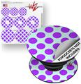 Decal Style Vinyl Skin Wrap 3 Pack for PopSockets Kearas Polka Dots Purple And Blue (POPSOCKET NOT INCLUDED)