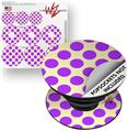 Decal Style Vinyl Skin Wrap 3 Pack for PopSockets Kearas Polka Dots Purple On Cream (POPSOCKET NOT INCLUDED) by WraptorSkinz