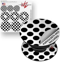 Decal Style Vinyl Skin Wrap 3 Pack for PopSockets Kearas Polka Dots White And Black (POPSOCKET NOT INCLUDED) by WraptorSkinz