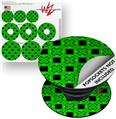Decal Style Vinyl Skin Wrap 3 Pack for PopSockets Criss Cross Green (POPSOCKET NOT INCLUDED)