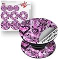 Decal Style Vinyl Skin Wrap 3 Pack for PopSockets Scene Kid Sketches Pink (POPSOCKET NOT INCLUDED)