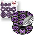 Decal Style Vinyl Skin Wrap 3 Pack for PopSockets Floral Pattern Purple (POPSOCKET NOT INCLUDED)