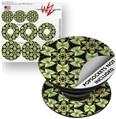 Decal Style Vinyl Skin Wrap 3 Pack for PopSockets Leave Pattern 1 Green (POPSOCKET NOT INCLUDED)