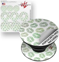 Decal Style Vinyl Skin Wrap 3 Pack for PopSockets Green Lips (POPSOCKET NOT INCLUDED) by WraptorSkinz