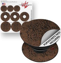 Decal Style Vinyl Skin Wrap 3 Pack for PopSockets Folder Doodles Chocolate Brown (POPSOCKET NOT INCLUDED) by WraptorSkinz