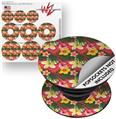 Decal Style Vinyl Skin Wrap 3 Pack for PopSockets Beach Flowers 02 Coral (POPSOCKET NOT INCLUDED)