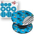 Decal Style Vinyl Skin Wrap 3 Pack for PopSockets Coconuts Palm Trees and Bananas Blue Medium (POPSOCKET NOT INCLUDED)