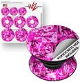 Decal Style Vinyl Skin Wrap 3 Pack for PopSockets Pink Plaid Graffiti (POPSOCKET NOT INCLUDED)