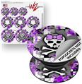 Decal Style Vinyl Skin Wrap 3 Pack for PopSockets Purple Princess Skull (POPSOCKET NOT INCLUDED)