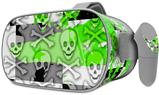 Decal style Skin Wrap compatible with Oculus Go Headset - Checker Skull Splatter Green (OCULUS NOT INCLUDED)