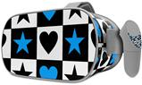 Decal style Skin Wrap compatible with Oculus Go Headset - Hearts And Stars Blue (OCULUS NOT INCLUDED)