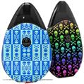 Skin Decal Wrap 2 Pack compatible with Suorin Drop Skull And Crossbones Pattern Blue VAPE NOT INCLUDED