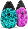 Skin Decal Wrap 2 Pack compatible with Suorin Drop Skull Patch Pattern Blue VAPE NOT INCLUDED